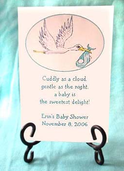 Turquoise Theme Stork Baby Shower Tea Packets & Seed Favors