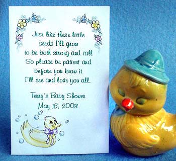 Yellow Rubber Duckie Ducky Baby Shower Tea Packet & Seed Favors