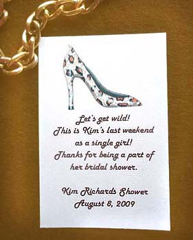 Leopard Print Stiletto Shoe Bachelorette & Bridal Shower Seed Favors & Tea Packets