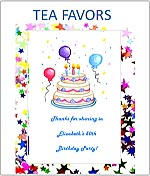 Birthday Party Tea Favor Packets personalized
