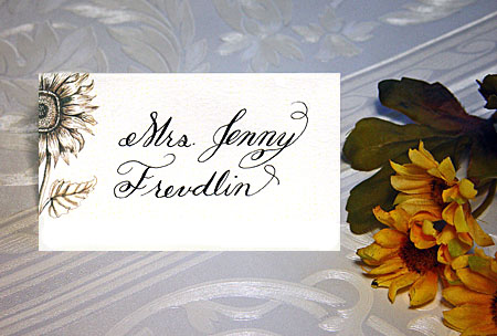 Calligraphy Wedding Place Card with floral design