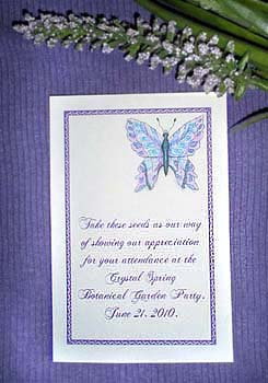 Lavender and Blue Butterfly Seed Favor  Packets