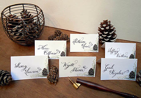 Winter Wedding Pine Cone Escort Place Cards by Designs By Lorise
