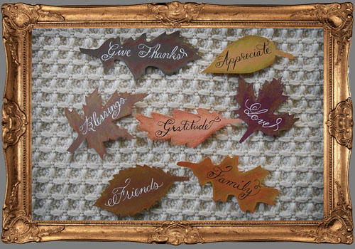 Calligraphy Art and Design Gratitude Leaves