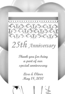 25th - Twenty Fifth Silver Anniversary Seed Favors & Tea Packets
