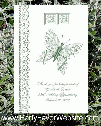 25th Anniversary Seed Favors & Tea Packets for  silver wedding anniversary