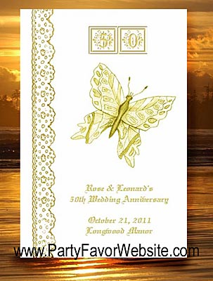 50th ANNIVERSARY Golden Butterfly Seed Favors & Tea Packets