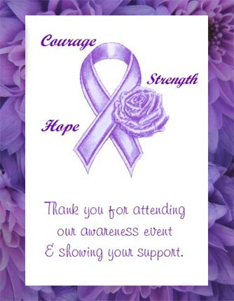 Purple Ribbon Animal Abuse Awareness, Domestic Violence & Alzheimer's Awareness  Seed  Favors  & Tea Packets