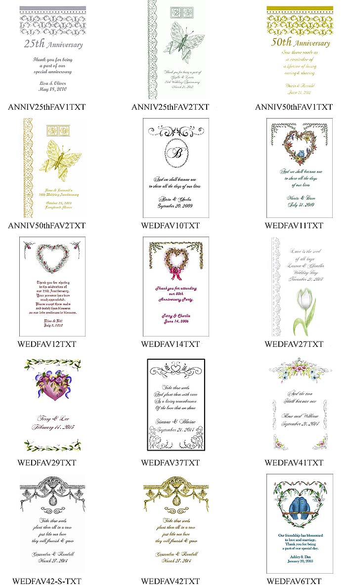 Anniversary Party Tea Favor Packets