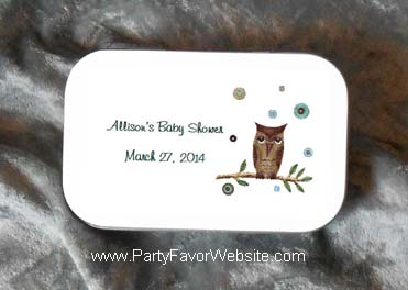 Baby Owl Boy's Mint Tin Party Favors for Baby Showers, Baptisms and Christenings