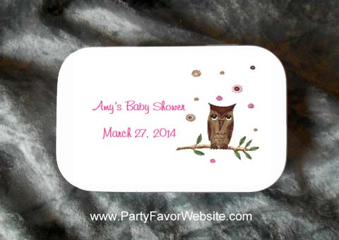 Baby Girl Owl  Mint Tin Party Favors for Baby Showers, Baptisms and Christenings