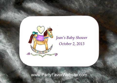 Rocking Horse Mint Tin Party Favors for Baby Showers, Baptisms and Christenings