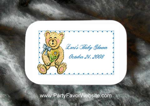 Teddy Bear with Sunflower Mint Tin Party Favors for Baby Showers, Baptisms and Christenings