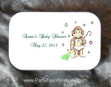 Baby Monkey Mint Tin Party Favors for Baby Showers, Baptisms and Christenings