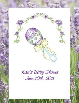 Purple Baby Rattle Baby Shower Seed Favors  & Tea Packets