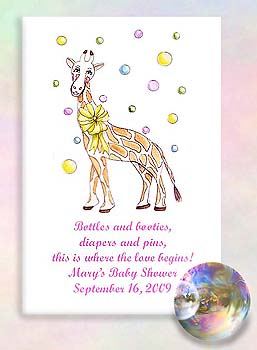 Giraffe with Bubbles Baby Shower Tea & Seed Favors