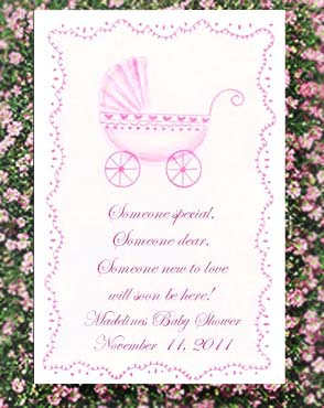 Pink Baby Carriage Baby Shower Seed Favors  & Tea Packets