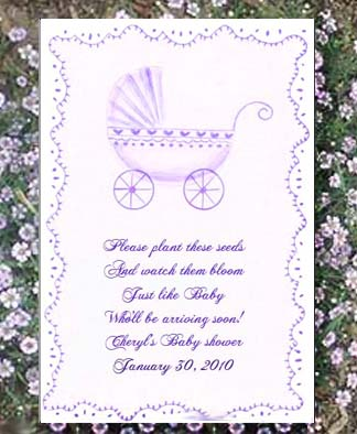 Lavender Baby Carriage  Baby Shower Seed Favors & Tea Packets