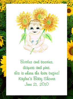 Baby Holding Sunflower (light skin tone) Baby Shower Seed Favors & Tea Packets