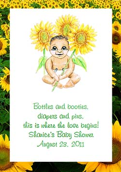 Baby Holding Sunflower Baby Shower  Seed Favors & Tea Packets (dark skin tone)
