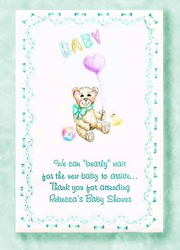Teddy Bear with Heart Balloon Baby Shower  Seed Favors & Tea Packets