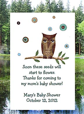 Boy Owl Baby Shower Tea & Seed Favors