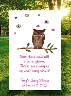 Girl Owl Baby Shower Tea Favor Packets & Seed Favors