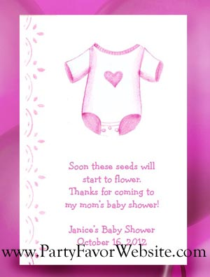 Pink Girl Onesie Baby Shower Seed Favors & Tea Packet Favors