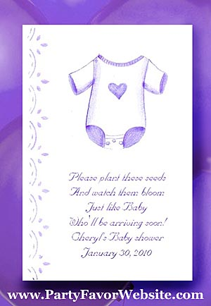 Purple Onesie Baby Shower Tea Packet Favors & Seed Favors