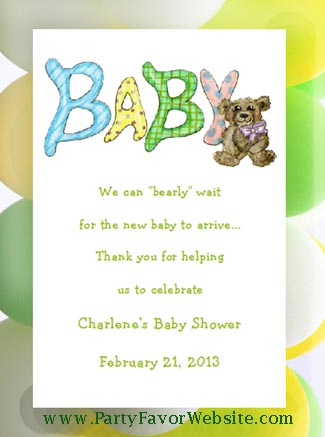 Baby Sign with Teddy Bear Baby Shower Seed  Favors and Tea Favors
