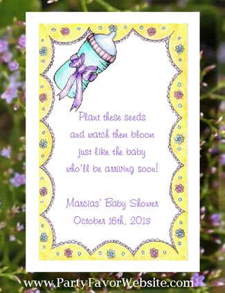 Yellow Cheerful Gender Neutral Baby Shower Seed  Favors & Tea Packet  Favors