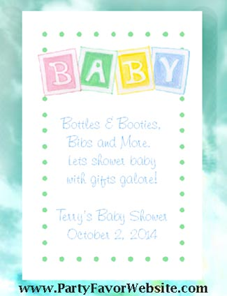 Baby Blocks & Polka Dots Baby Shower Seed  Favors & Tea Favors