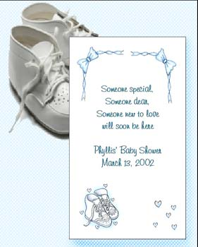 Blue Baby Shoes Baby Shower, Baptism, Christening Seed  Favors & Tea Packets