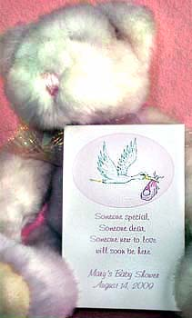 Pink Theme Stork Baby Shower Tea Packets & Seed  Favors