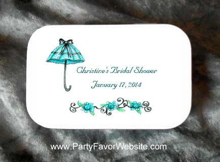 Bridal Shower and Baby Shower Teal Umbrella Mint Tin Party Favors