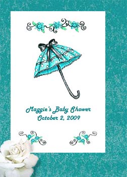 Trendy Teal Shower Umbrella Baby or Bridal Shower  Seed Favors  & Tea Packets