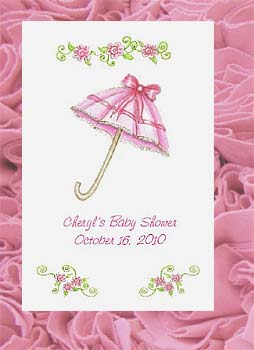 Pink Shower Umbrella Baby Shower or Bridal Shower Tea Packets &  Seed Favors