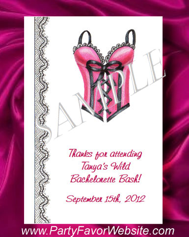 Pink Satin Lingerie Bustier Corset  Bachelorette Party & Bridal Shower Seed Favors  & Tea Packets