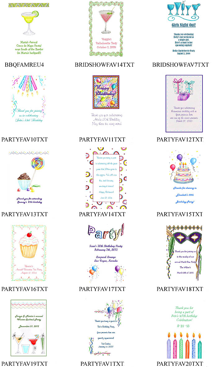Birthday Party Tea Favor Packets