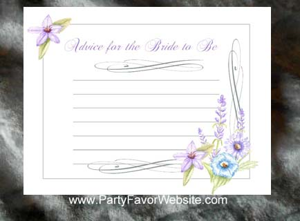 Wildflowers Bridal Shower Wedding Advice Cards