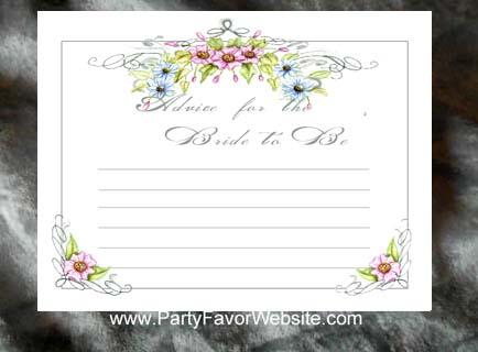Floral Romance Bridal Shower Wedding Advice Cards