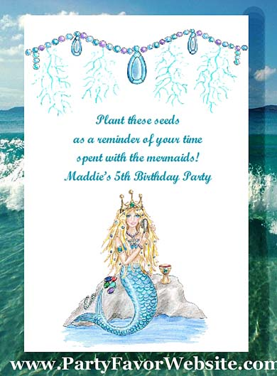 Little Mermaid Childrens Girls Birthday Party Seed Favors