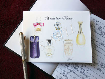 Designer Perfume Personalized Greeting Note Cards 8 Ct. Box Set with Silver Shimmery Envelopes