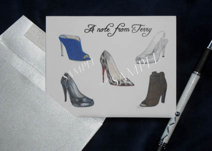 Designer Shoes Tom Ford, Loubotin Rossi Madden Personalized Greeting Note Card 8 Ct. Box Set with Silver  Envelopes