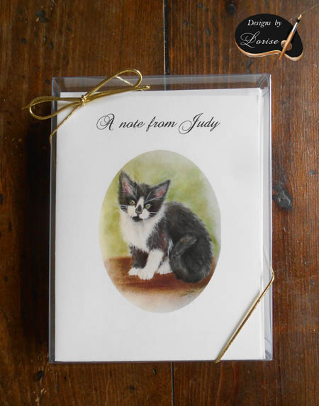 Grey and White Kitten Personalized Art Note Card Greeting 8 ct. Box Set w White Envelopes
