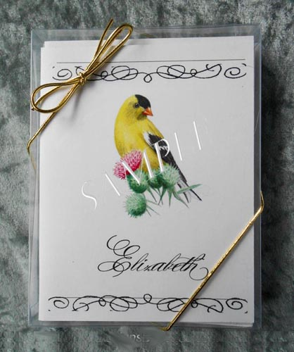 American Goldfinch Personalized Watercolor Art Note Card Greeting 8 ct. Box Set w White Envelopes