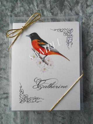 Baltimore Oriole Bird Personalized Art Note Card Greeting 8 ct. Box Set w White Envelopes