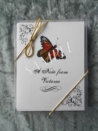 Monarch Butterfly Personalized Art Note Card Greeting 8 ct. Box Set w White Envelopes