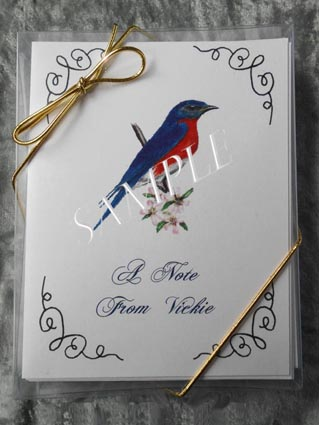 Eastern Bluebird Personalized Art Note Card Greeting 8 ct. Box Set w White Envelopes