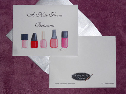 Personalized Greeting Nail Polish Note Card 8 Ct. Box Set with Silver Shimmery Envelopes